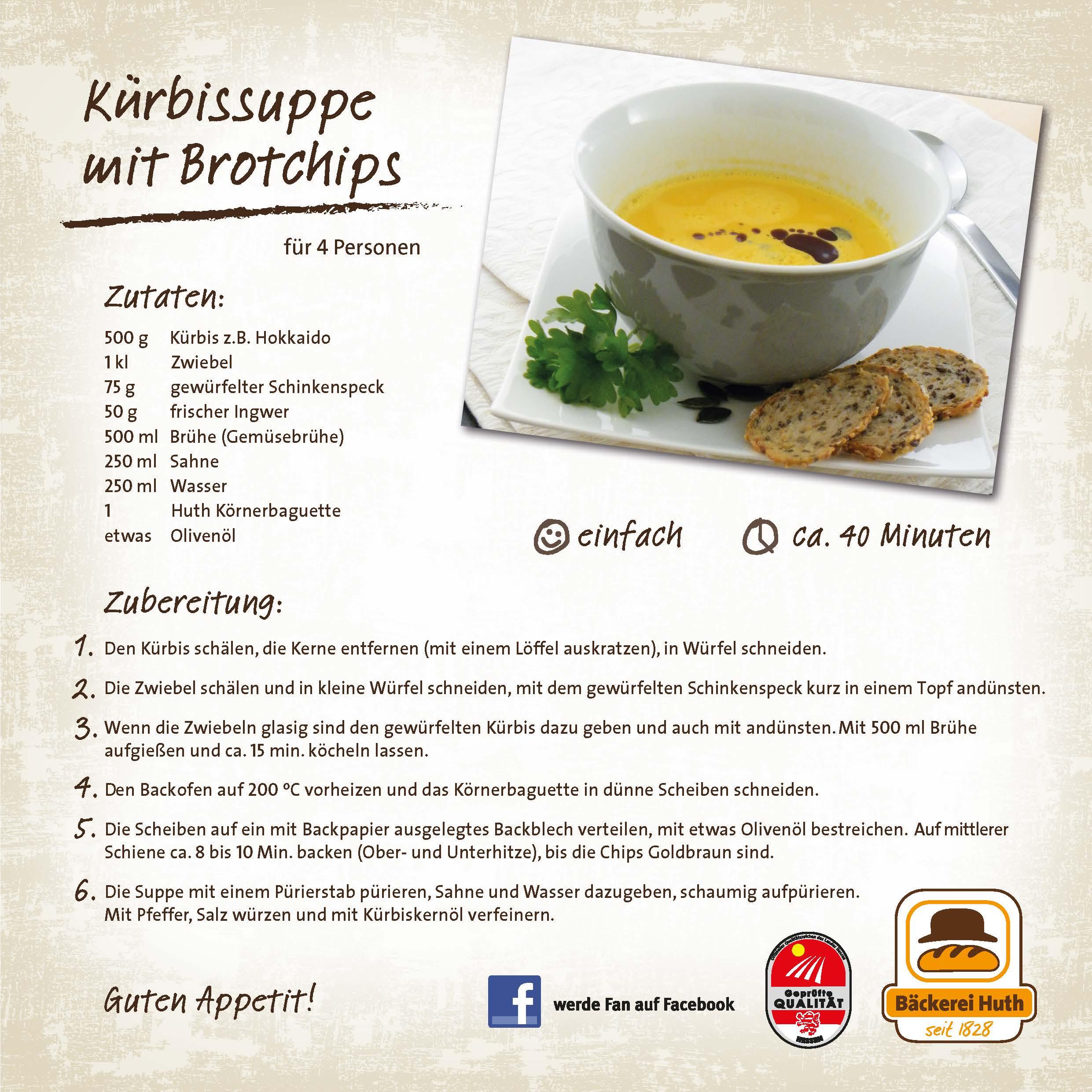 Rezept Bilder unser huth rezept für sie kürbissuppe mit brotchips rezepte